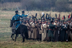 Reconstrução das batalhas da guerra patriótica da cidade 1812 do russo Maloyaroslavets Imagens de Stock
