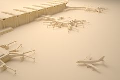 Reconstrução de um terminal e de um avião de aeroporto Fotografia de Stock Royalty Free