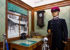 Reconstrução do local de trabalho do chefe do ` s da estação do final do século XIX, foto de stock royalty free