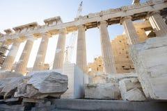Reconstrução do Partenon na acrópole ateniense Fotos de Stock