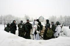 a reconstrução Militar-histórica 'a descoberta do bloqueio de Leninegrado na área do Nevskaya Dubrovka 'era i guardado imagens de stock