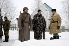 a reconstrução Militar-histórica 'a descoberta do bloqueio de Leninegrado na área do Nevskaya Dubrovka 'era i guardado fotografia de stock royalty free