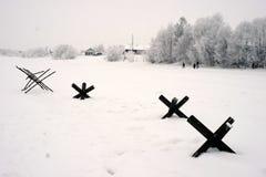 a reconstrução Militar-histórica 'a descoberta do bloqueio de Leninegrado na área do Nevskaya Dubrovka 'era i guardado foto de stock royalty free