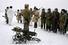 a reconstrução Militar-histórica 'a descoberta do bloqueio de Leninegrado na área do Nevskaya Dubrovka 'era i guardado imagem de stock royalty free