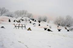 a reconstrução Militar-histórica 'a descoberta do bloqueio de Leninegrado na área do Nevskaya Dubrovka 'era i guardado foto de stock