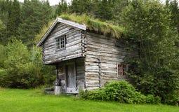 Reconstrua a casa histórica em Noruega com grama no roo Foto de Stock