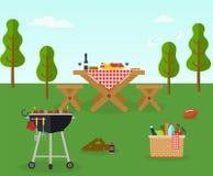 Reconstrucción al aire libre del partido del Bbq de la comida campestre Foto de archivo libre de regalías