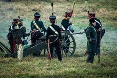 Reconstrucción de batallas de la guerra patriótica de la ciudad Maloyaroslavets de 1812 rusos Fotos de archivo libres de regalías