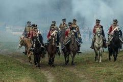 Reconstrucción de batallas de la guerra patriótica de la ciudad Maloyaroslavets de 1812 rusos Imagen de archivo