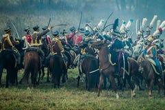 Reconstrucción de batallas de la guerra patriótica de la ciudad Maloyaroslavets de 1812 rusos Fotos de archivo