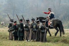 Reconstrucción de batallas de la guerra patriótica de la ciudad Maloyaroslavets de 1812 rusos Imagen de archivo libre de regalías