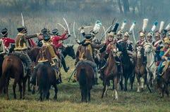 Reconstrucción de batallas de la guerra patriótica de la ciudad Maloyaroslavets de 1812 rusos Imagenes de archivo
