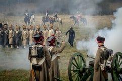 Reconstrucción de batallas de la guerra patriótica de la ciudad Maloyaroslavets de 1812 rusos Fotografía de archivo
