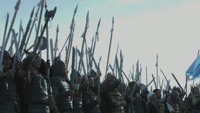 Reconstrucción de la batalla de Orbulak almacen de video