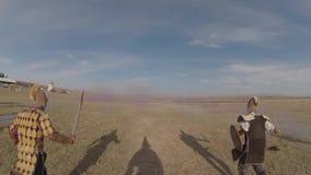 Reconstrucción de la batalla de Orbulak almacen de metraje de vídeo