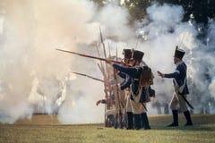 Reconstrucción de la guerra napoleónica imagen de archivo