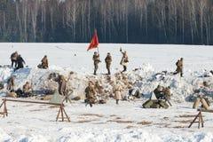 Reconstrucción de los acontecimientos en 1943 que termina la batalla de Stalingrad. Fotos de archivo libres de regalías