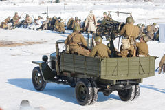 Reconstrucción de los acontecimientos en 1943 que termina la batalla de Stalingrad. Fotografía de archivo