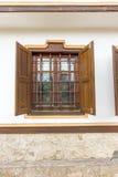 Reconstrucción de un enrejado de madera en Koprivshtitsa, Bulgaria Foto de archivo libre de regalías