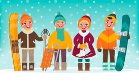 Reconstrucción del active del ` s de los niños del invierno Los muchachos y las muchachas entran para los deportes Esquís, trineo Imágenes de archivo libres de regalías