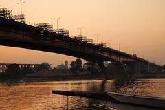 Reconstrucción del puente en Belgrado Imagenes de archivo