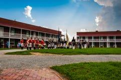 Reconstrucción en un día de verano en el fuerte McHenry, Baltimore. Imagen de archivo
