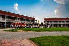 Reconstrucción en un día de verano en el fuerte McHenry, Baltimore, Maryland Imagen de archivo