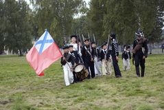 Reconstrucción histórica de la batalla de Borodino en Rusia Reenactors jovenes Imagen de archivo libre de regalías