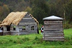 Reconstrucción histórica de la batalla de Borodino en Rusia Modelos de las casas de campo Imagenes de archivo