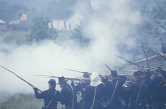 Reconstrucción histórica de la batalla de Manassas, marcando el principio de la guerra civil, Virginia Imágenes de archivo libres de regalías