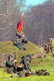 Reconstrucción histórica de la batalla de Moscú Imagen de archivo libre de regalías