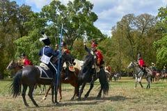 Reconstrucción histórica de la batalla de los tres emperadores en Slavkov-Austerlitz fotografía de archivo libre de regalías