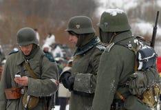 Reconstrucción histórica militar de la Segunda Guerra Mundial Foto de archivo libre de regalías