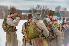 reconstrucción Militar-histórica de luchas de épocas de la primera guerra mundial, Borodino, el 13 de marzo de 2016 fotos de archivo libres de regalías