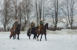 reconstrucción Militar-histórica de luchas de épocas de la primera guerra mundial, Borodino, el 13 de marzo de 2016 imagen de archivo libre de regalías