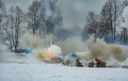 reconstrucción Militar-histórica de luchas de épocas de la primera guerra mundial, Borodino, el 13 de marzo de 2016 foto de archivo