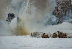 reconstrucción Militar-histórica de luchas de épocas de la primera guerra mundial, Borodino, el 13 de marzo de 2016 imagenes de archivo