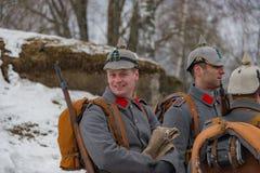 reconstrucción Militar-histórica de luchas de épocas de la primera guerra mundial, Borodino, el 13 de marzo de 2016 fotos de archivo