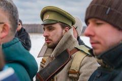 reconstrucción Militar-histórica de luchas de épocas de la primera guerra mundial, Borodino, el 13 de marzo de 2016 fotografía de archivo