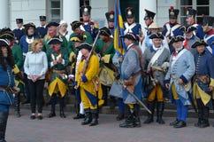 Reconstrucción: Soldados de Carolean del sueco a partir de 1700 Imágenes de archivo libres de regalías