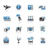 Reconstrucción, viaje y vacaciones, iconos fijados Imagenes de archivo