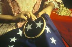 Reconstrucción viva de la historia de la fabricación de la primera bandera americana, Philadelphia, Pennsylvania imágenes de archivo libres de regalías