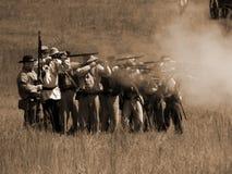 RECONSTRUCCIÓN de la batalla de la GUERRA CIVIL Fotografía de archivo libre de regalías
