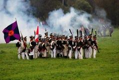 Reconstrucción histórica de la batalla de Borodino en Rusia Fotos de archivo libres de regalías