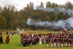 Reconstrucción histórica de la batalla de Borodino en Rusia Fotos de archivo