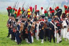 Reconstrucción histórica de la batalla de Borodino en Rusia Fotografía de archivo libre de regalías