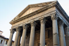 Reconstructed ancient Roman temple in the centre of Vic Royalty Free Stock Images