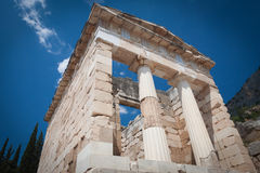 The reconstructed Athenian Treasury, Delphi, Greece. Royalty Free Stock Photo