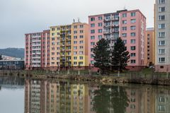Reconstructed block of flats built in communism era. Reconstructed blocks of flats built in communism era in Czech republic in city of Bruntal Royalty Free Stock Photo