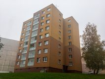 Reconstructed blocks of flats in Czech Republic built in communism era. In misty weather royalty free stock images